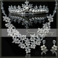 New Arrival Free Shipping Alloy with Clear Crystal Rhinestones Pearls Wedding Bridal Jewelry Set Necklace Earrings Tiara -JVA19