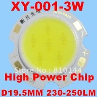 24pcs/lot 3W LED Module , COB technology, Taiwan High Power Chip 38MIL,Round D19.5mm Light source,XY-001-3W.