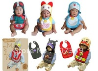 Baby Cartoon Bibs with Hat,Infant Bibs Cartoon Feeding with Hat ,Lovely Baby Bibs 2-piece 6 desgins  Free Shipping 30pcs/lot