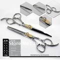 6Inch Hair Scissors Cutting and Thinning Scissors Professional CZdiamond Screw Barber Scissors 1set lot