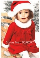 Hot sale! Wholesale, 3 set/Lot! 2013 Red Christmas Long-sleeved dress +Caps, Lovely new year baby dress+hat,kids cloth!