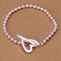 H173 Wholesale New Fashion 925 Silver Jewelry Beads Chain Tennis Bracelet Heart Link Jewellery Free Shipping