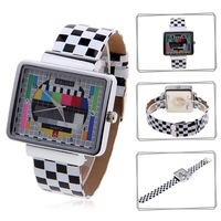 New Stylish JIALILEI 58833 Square Dial Leather Wrist Watch with Numerals Hour Marks  freeshipping