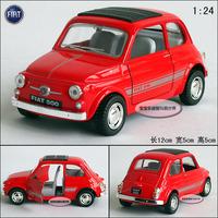 1:24 Soft world kinsmart red fiat 500  alloy car models free air mail