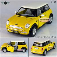 1:28 yellow mini cooper alloy car model free air mail