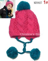 10pcs/lot NEW Arrival 100% cotton knitted  baby winter hat Grid double ball wool Earmuffs children hats_MZ0927
