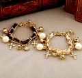 Wholesale Jewelry SWEET Antique Fashion White Black Bracelets Cross Pearl Classic Vintage Bracelet SJS005 Free Shipping