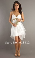 2012 Free Shipping New Arrival Sexy Sweetheart White Spaghetti Strap Organza Short Party Cocktail Dresses