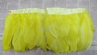Yellow goose feather trim/trimming/ fringe on bias tape for costume designing or dress, Free Shipping!
