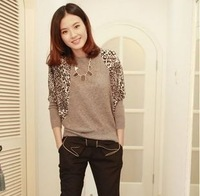 2013 autumn women's leopard print patchwork long-sleeve sweater batwing shirt sweater outerwear thin