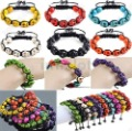 Mix Colors 10pcs Shamballa Bracelet Colorful Skull Turquoise Beads Bracelet Free Shipping