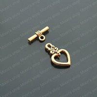 (18171)Free Shipping Wholesale Vintage Charms & Pendants Alloy Antique Gold heart:17*13MM OT Bracelet clasp 20PCS