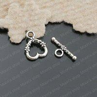 (26238)Free Shipping Wholesale Vintage Charms & Pendants Alloy Antique Silver heart:14*13MM OT Bracelet clasp 30PCS