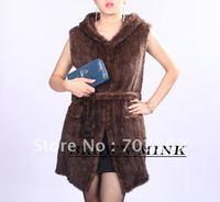 free shipping -2012 winter fashion Sleeveless long lady fur coat ,hat collar,free size