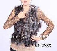 free shipping -2012  fashion Sleeveless short vest, fox fur lady garment,free size
