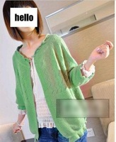 Free shipping Women's new arrival 2012 autumn cutout sweater puff sleeve small cape cardigan sun protection clothing