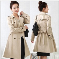 Free shipping 2012 trench women's spring and autumn outerwear medium-long slim double breasted women's trench