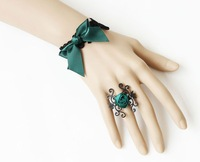 free shipping wholesale jewelry vintage bow bracelets with ring bridal fashion jewelry set party bracelets set fashion jewelry