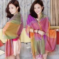 Summer sun-shading sunscreen tassel elegant women's air conditioning bohemia long scarf large multi-purpose cape
