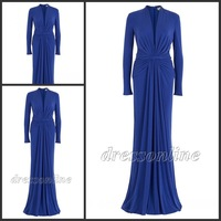 MUS002 Free Shipping Cheap High Quality High Neck Long Sleeves Royal Blue Jersey Muslim Evening Gown Formal Long Dresses