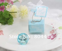 """Free Shipping ,New arrival""  100pcs/lot ,""With this Ring"" Crystal ""Diamond"" Ring Key Chain Wedding Favor in Sky Blue Gift Box"