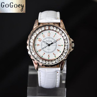 Fashion Quartz Watches Leather Jewelry Women Watch Casual Lady Wristwatches Wrist New 039-2 White