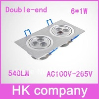 Free Shipping Wholesale led square double celling lamp AC100V-265V 540LM 6*1W downlight