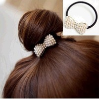 Minimum order $20 for free shipping sweet joker little pearl bowknot hair bands classic hair hair rope