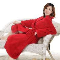 Coral fleece bathrobe lovers sleepwear thickening robe male women's bathoses autumn and winter long lounge