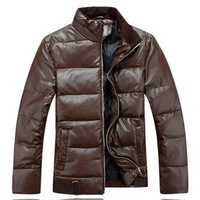 2012 autumn and winter water washed leather down coat male PU  Black,Brown,M-L-XL-XXL-XXXL,  Free shipping