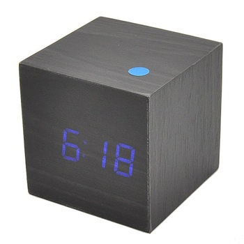 Free Shipping Multifunction Sonic Control Wooden LED Clock Digital Table Alarm Wood Timmer With Temperature HE0089