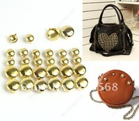 WHOLESALE 300PCS/LOT Gold 6mmm/10mm/12mm Round Cone Studs Rivets Spikes Punk Bag Belt Leathercraft DIY +FREE SHIPPING