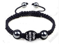 white&black 10MM Black SHAMBALLA HANDMADE BRACELET CZECH CRYSTAL DISCO BALL 1 BEADS GIFT
