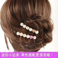 Han edition jewelry pearl fashion and personality heart-shaped card edge clip hair accessories