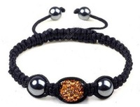 high quality!gift to you!brown 10MM Black SHAMBALLA HANDMADE BRACELET CZECH CRYSTAL DISCO BALL 1122311