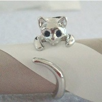 Minimum order $20 for free shipping 2015 the lovely cat  ring South Korea lovely animal style