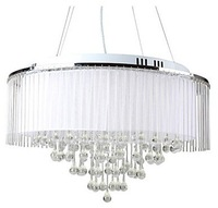 Free shipping White Crystal Drop 8-Light Pendant Light with Fabric Lamp