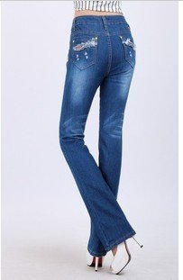 Flared trousers new broad leg micro elastic jeans took high waist high-grade jeans