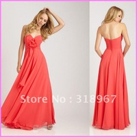 Free Shipping Customized A-Line Sweetheart Pleated Flower Floor Length Chiffon Bridal Bridesmaid Dress Evening Party Gown