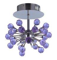 6-light Floral Shape K9 Crystal Ceiling Light-Purple