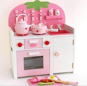 Svr roze mooie aardbei speelgoed meubels keuken speelhuis in van keuken toys op - Roze keuken fuchsia ...