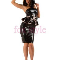 fashion latex top with pencil skirt