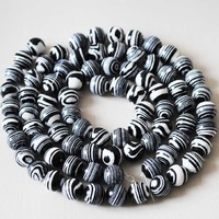 Wholesale Beads,144pcs/Lot,Black & White Zebra Jasper Beads,(Imitation)Loose Gemstone Beads,Size: 8mm,Free Shipping !