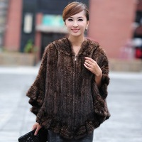 2014 Winter Women's Genuine knitting Mink Fur Pullover Wraps Lady Pashmina Stole with Hoody Female Outerwear Coats VK1001