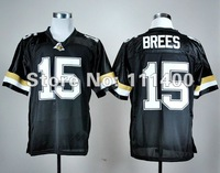 NCAA football jersey,Purdue Boilermakers #15 Drew Brees black jersey,Embroidery logos,Free shipping,size 48-56,can mix order