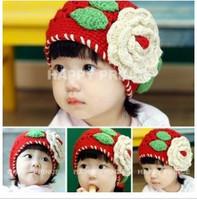 Autumn and winter child cotton baby yarn pocket hat thermal handmade big flower hat