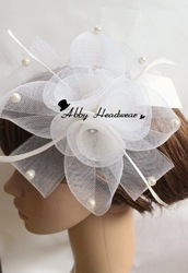 Bridal Crinoline Cocktail hat / white Crinoline Headpiece / Weddings Bridal Head Dress / Couture Fascinator 12 pieces/lot(China (Mainland))