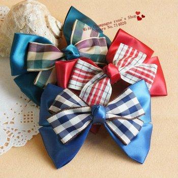 Bow plaid patchwork barrettes/clip/Elastic hairgrips/Hair accessories/Headwear for women.silk flowers for girls.TTC05M07