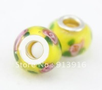 New 50pcs Wholesale fashion loose DIY disco Art Flower Lampwork murano glass beads spacer fit European bracelet Jewelry Findings