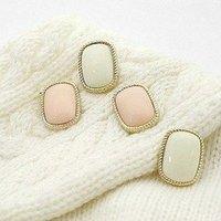 Korean Simple Earrings,Square rhinestone Stud Earrings, Min.order is $15 (mix order)Free Shipping(E414)